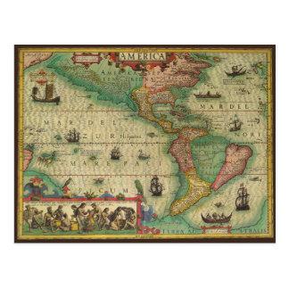 Mapa de Viejo Mundo antiguo de las Américas, 1606 Postal