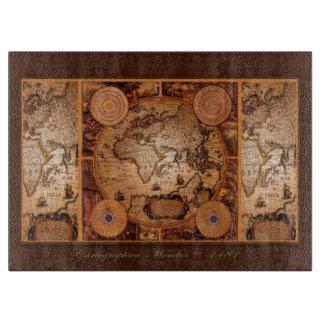 Mapa de Viejo Mundo del vintage para los Tablas Para Cortar