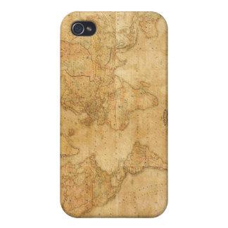 Mapa de Viejo Mundo en el caso del iPhone 4 del pe iPhone 4 Funda