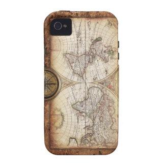 Mapa de Viejo Mundo fresco Vibe iPhone 4 Carcasa