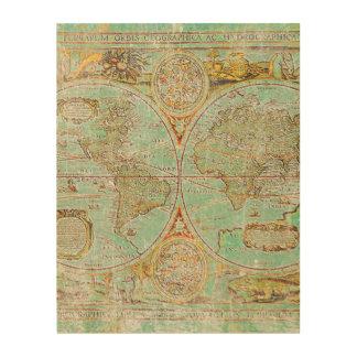 Mapa de Viejo Mundo Impresión En Madera
