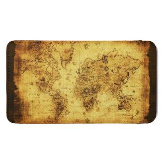 Mapa de Viejo Mundo rústico del oro Funda Acolchada Para Móvil