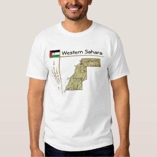 Mapa de Western Sahara + Bandera + Camiseta del