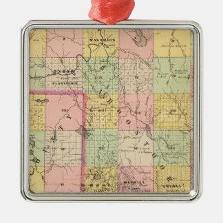 Mapa del atlas de las tierras 4 de la madera adorno navideño cuadrado de metal