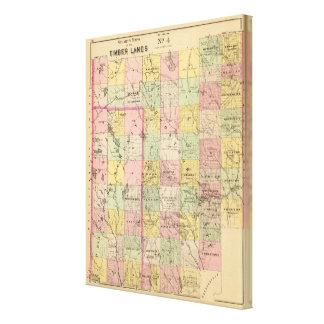 Mapa del atlas de las tierras 4 de la madera impresiones en lona