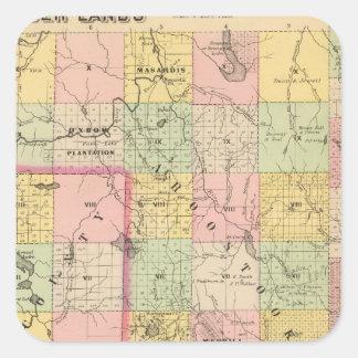 Mapa del atlas de las tierras 4 de la madera pegatina cuadrada