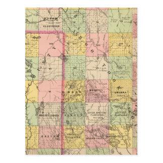 Mapa del atlas de las tierras 4 de la madera postal