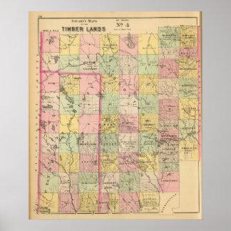 Mapa del atlas de las tierras 4 de la madera póster