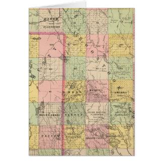Mapa del atlas de las tierras 4 de la madera tarjeta de felicitación