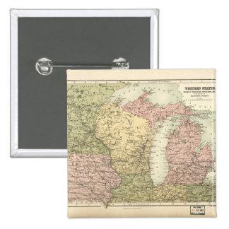Mapa del Cercano oeste americano (1873) Chapa Cuadrada