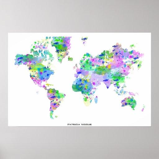 Mapa del chapoteo del planisferio del mundo posters de Zazzle.