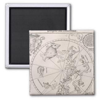 Mapa del cielo meridional imán cuadrado