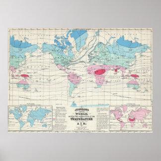 Mapa del clima del mundo del vintage (1870) póster