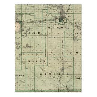 Mapa del condado de Cerro Gordo estado de Iowa Tarjetas Postales