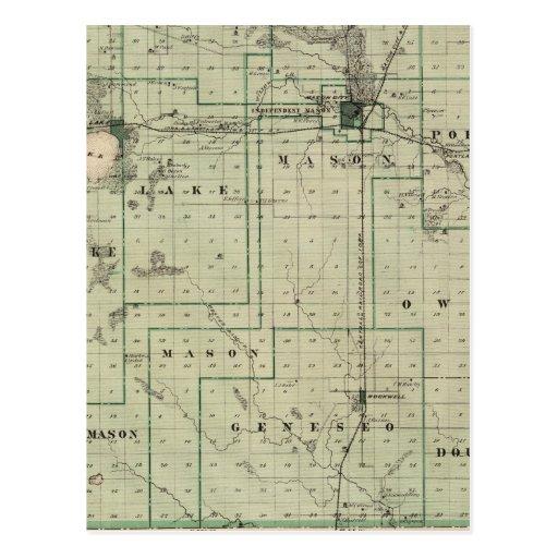 Mapa del condado de Cerro Gordo, estado de Iowa Tarjetas Postales