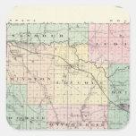 Mapa del condado de Eau Claire, estado de Wisconsi Calcomanías Cuadradases