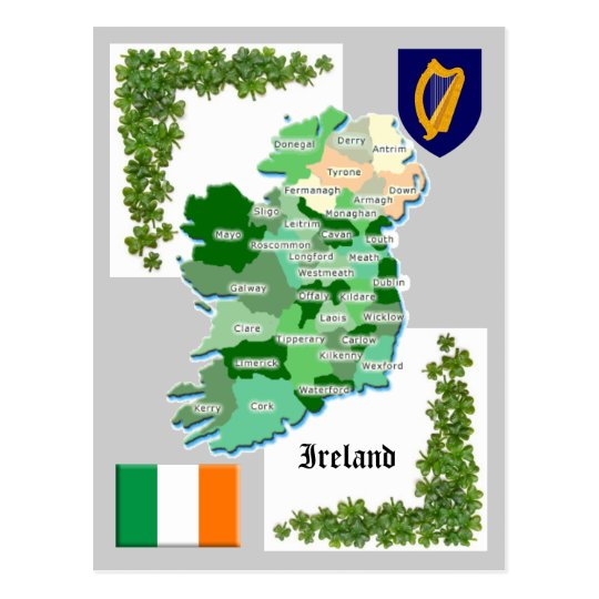Mapa del condado de Irlanda Postal