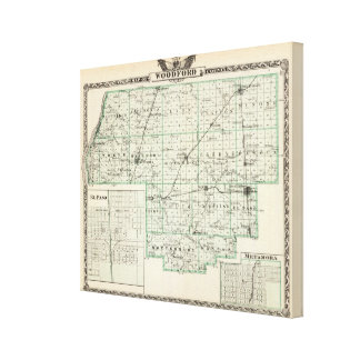Mapa del condado de Woodford de El Paso y de Meta Lienzo Envuelto Para Galerias
