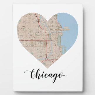 Mapa del corazón de Chicago Placa Expositora