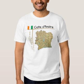 Mapa del d'Ivoire de Cote + Bandera + Camiseta del