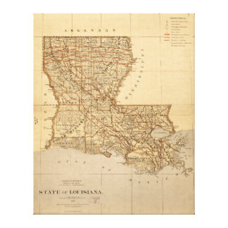 Mapa del estado de Luisiana (1876) Lienzo