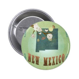 Mapa del estado del vintage de New México - verde Pin