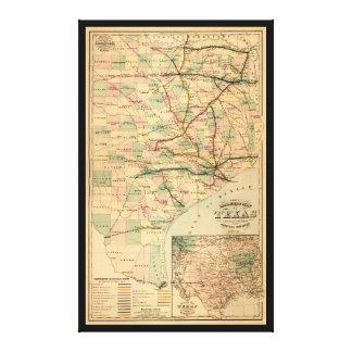 Mapa del ferrocarril del gris de Tejas (1877) Impresión En Lienzo