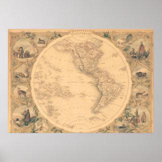 Mapa del hemisferio occidental póster