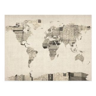 Mapa del mapa del mundo de las postales viejas
