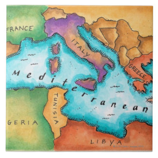 Mapa del mar Mediterráneo Teja Cerámica