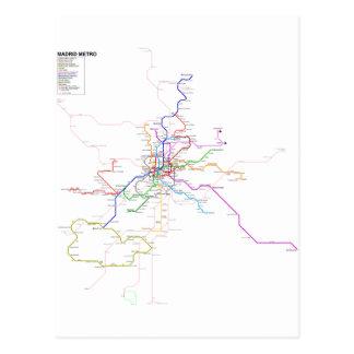 Mapa del metro de España-Madrid Postal