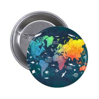 mapa del mundo 12 chapa redonda de 5 cm
