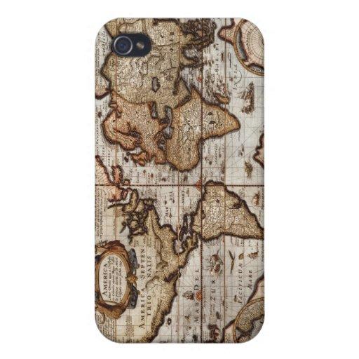 Mapa del mundo 1499 w el protector del dispositivo iPhone 4/4S funda