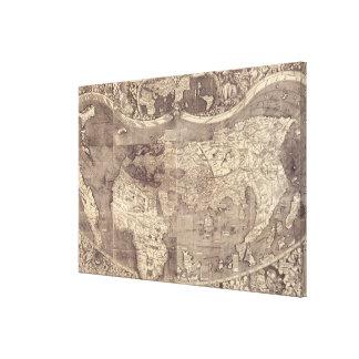 Mapa del mundo 1507 de Martin Waldseemuller Lona Envuelta Para Galerías