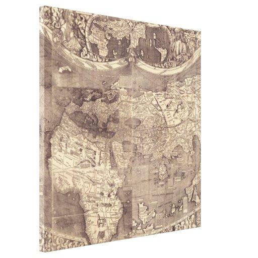 Mapa del mundo 1507 de Martin Waldseemuller Lienzo Envuelto Para Galerias
