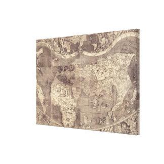 Mapa del mundo 1507 de Martin Waldseemuller Lienzo Envuelto Para Galerías