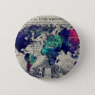 mapa del mundo 15 chapa redonda de 5 cm