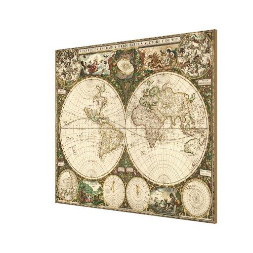 Mapa del mundo 1660 de la antigüedad de Frederick  Lienzo Envuelto Para Galerias
