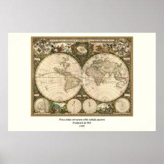 Mapa del mundo 1660 de la antigüedad de Frederick Impresiones