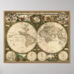 Mapa del mundo 1660 de la antigüedad de Frederick  Poster