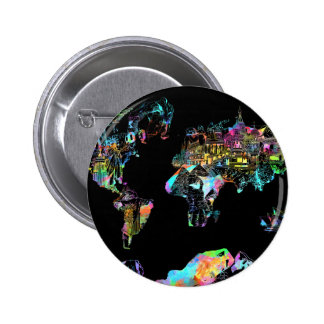 mapa del mundo 2 chapa redonda de 5 cm