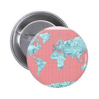 mapa del mundo 7 chapa redonda de 5 cm