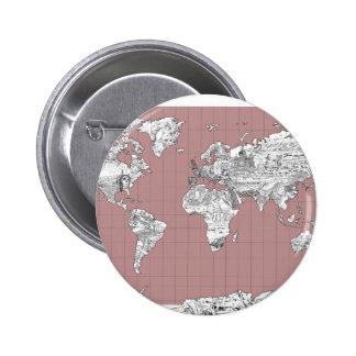 mapa del mundo 8 chapa redonda de 5 cm