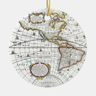 Mapa del mundo antiguo de Hendrik Hondius, 1630 Adorno De Cerámica
