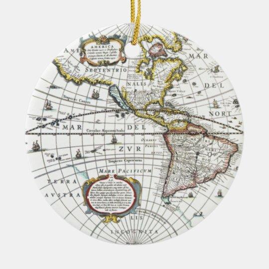 Mapa del mundo antiguo de Hendrik Hondius, 1630 Adorno Navideño Redondo De Cerámica