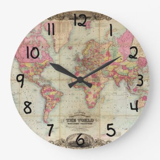 Mapa del mundo antiguo de Juan Colton, circa 1854 Reloj Redondo Grande