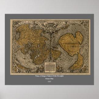 Mapa del mundo antiguo de la obra clásica 1531 por póster