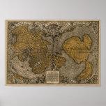 Mapa del mundo antiguo de la obra clásica 1531 por posters