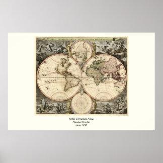 Mapa del mundo antiguo de Nicolao Visscher circa Poster