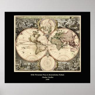 Mapa del mundo antiguo de Nicolao Visscher, circa  Impresiones
